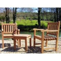 Teak Traditional Garden Chair and Coffee Table Set