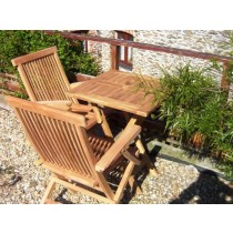 Teak 2 Seater Square Folding Armchair Set