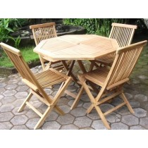 Teak 4 Seater Octagonal Folding Set