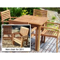 Teak 4 Seater Square Fixed Stacking Set