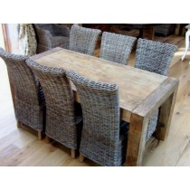 1.8m Reclaimed Elm Luxury Chunky Style Dining Table with 6 Latifa Chairs