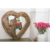 Teak Root Heart Mirror
