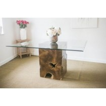 1.4m Reclaimed Teak Root Square Block Dining Table