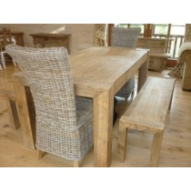 1.8m Reclaimed Elm Luxury Chunky Style Dining Table with 2 Latifa Chairs and 2 Backless Benches