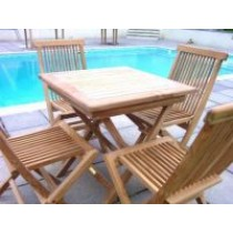 Teak 4 Seater Square Folding Set
