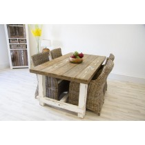 Reclaimed Pine Coastal Dining Table 180cm With 4 Donna Armchairs