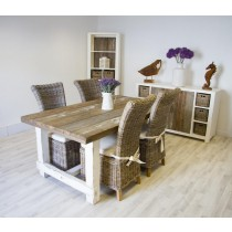 Reclaimed Pine Coastal Dining Table 180cm With 4 Latifa Chairs