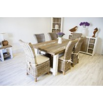 Reclaimed Pine Coastal Dining Table 180cm With 6 Latifa Chairs