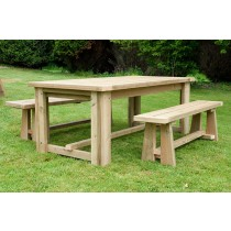 Swedish Redwood Chunky Dining Set with Benches