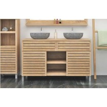 Diva Teak Large Washstand with Cupboards, Drawer and Shelves - 140cm X 80cm