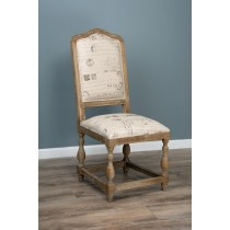 American Oak Grey Wash Solid Parisian Print Chair