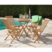 60cm Bistro Table with Four Classic Folding Chairs