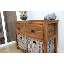 Reclaimed Teak Storage Unit  with 2 Drawers plus 2  Natural Wicker Baskets