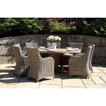 Reclaimed Teak Garden Character Table 1.3m with Natural Kubu Wicker Donna Armchairs
