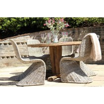 Reclaimed Teak Garden Character Table 1.3m with Natural Kubu Wicker Zorro Dining Chairs