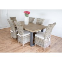 2m Industrial Chic Aldiron Table with 6 Latifa Chairs