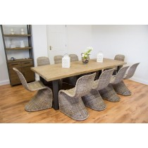 Industrial Chic Aldiron Table 2.6m with 10 Zorro Chairs