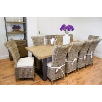 Industrial Chic Aldiron Table 2.6m with 10 Latifa Chairs