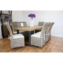2m Industrial Chic Aldiron Table with 8 Latifa Chairs