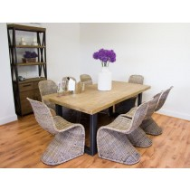 Industrial Chic Aldiron Table 2m with 8 Zorro Chairs