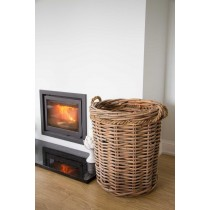 Large Circular Wicker Log Basket with Rope Handles