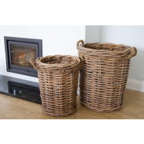 Pair of Circular Wicker Log Baskets with Rope Handles