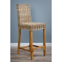 Kubu Grey Wicker Bar Stool