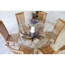 1.5m Reclaimed Teak Root Flute Circular Dining Table with 6 Santos Chairs