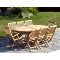 Teak 8 Seater Oval Table Set