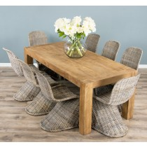 1.8m Reclaimed Elm Luxury Chunky Style Dining Table with 8 Stackable Zorro Chairs