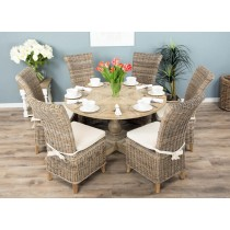 1.3m Reclaimed Pine Circular Pedestal Table with 4 or 6 Latifa Dining Chairs