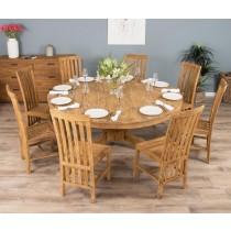 1.8m Reclaimed Teak Circular Pedestal Table with 8 Santos Dining Chairs