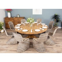 1.8m Reclaimed Teak Circular Pedestal Table with 8 Stackable Zorro Dining Chairs