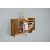 Reclaimed Teak Coat Hook Storage Unit - Two Basket