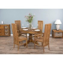 Oval Reclaimed Teak Pedestal Dining Table with 4 Vikka Chairs
