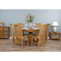 1m Reclaimed Teak Circular Pedestal Dining Table with 6 Santos Chairs