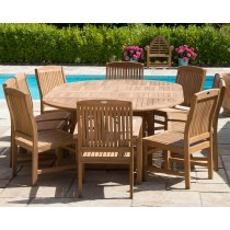 Teak Circular Double Extending Table 1.5m x 1.5m-2.3m with 10 Marley Chairs - With or Without Arms