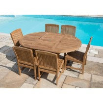 Teak Circular Extending Table 1.2m x 1.2m -1.8m with 6 Marley Chairs - With or Without Arms