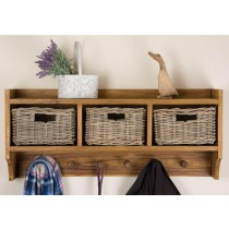 Reclaimed Teak Coat Hook Storage Unit - Three Basket