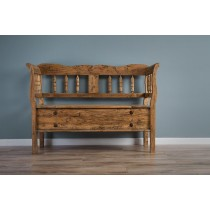 Reclaimed Teak Country Bench with Storage compartment