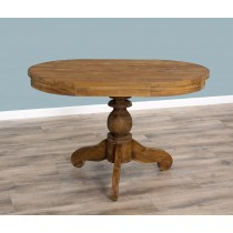 Reclaimed Teak Dining Table - Oval Pedestal - 120cm x 80cm