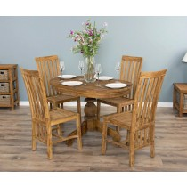 1.2m Reclaimed Teak Oval Pedestal Dining Table with 4 Santos Chairs