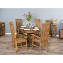 1.2m Reclaimed Teak Oval Pedestal Dining Table with 4 Vikka Dining Chairs and 2 Vikka Armchairs