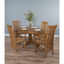 1.2 Reclaimed Teak Oval Pedestal Dining Table with 2 Santos Dining Chairs and 2 Santos Armchairs