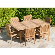 Teak Rectangular Extending Table 1m x 1.8m-2.4m with 6 Marley Armchairs