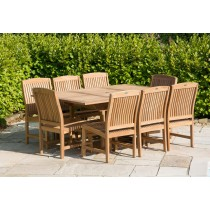 Teak Rectangular Extending Table 1m x 1.8m-2.4m with 8 Marley Chairs - With or Without Arms