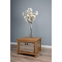 Reclaimed Teak Storage Unit with 1 Natural Wicker Basket