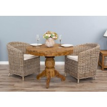 1m Reclaimed Teak Circular Pedestal Dining Table with 2 Riva Chairs