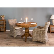 1m Reclaimed Teak Circular Pedestal Dining Table With 2 Donna Chairs