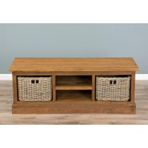 Reclaimed Teak TV Cabinet with Kubu Wicker Draws